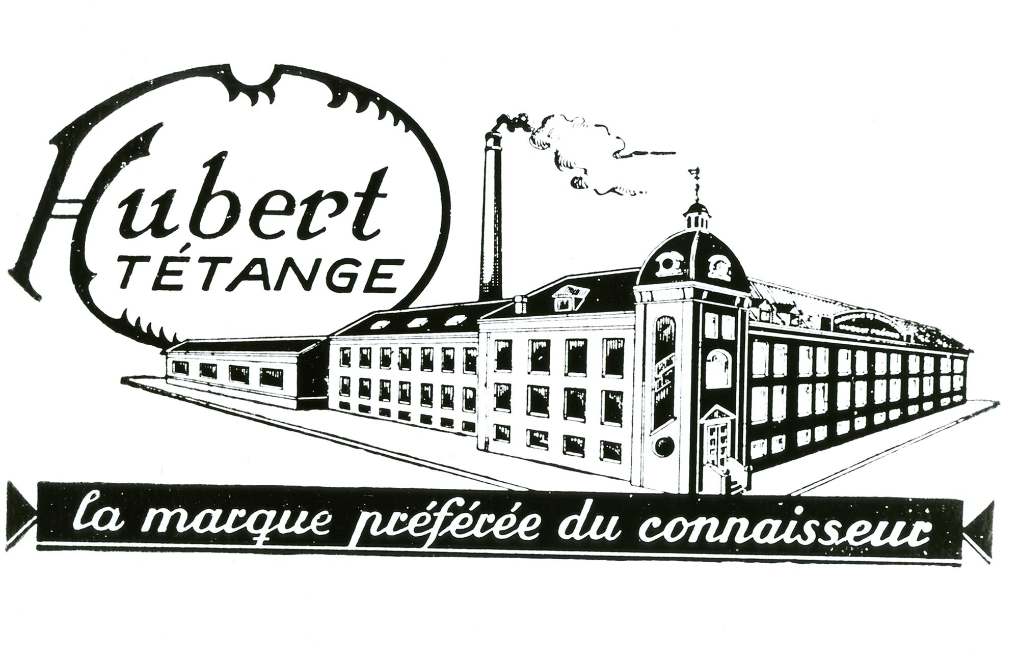 Le logo de l'entreprise Hubert montrant les bâtiments de la fabrique de chaussures.